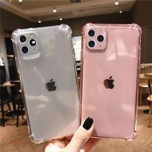 Lente à prova de choque transparente silicone caso do telefone para o iphone 12 11 pro max mini xs xr x 6s 7 8 plus x lente proteção volta capa