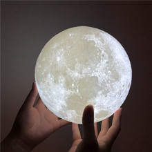 3d Print Moon Lamp Usb Rechargeable 2 Color Touch Control Bedroom Adjustable Night Light Decor Gift