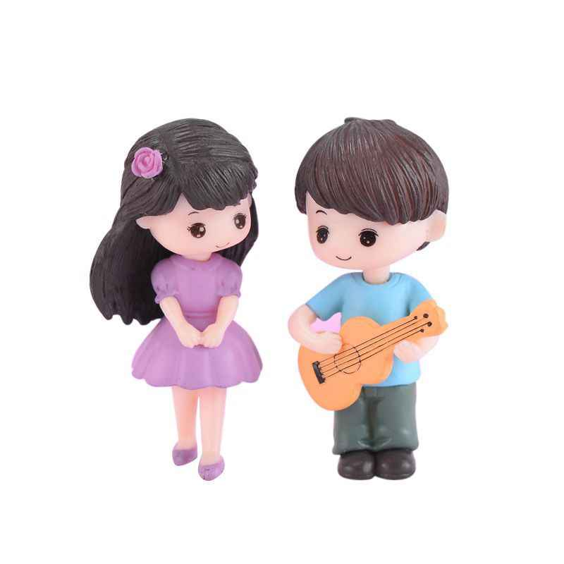 Guitar Couples Fairy Garden Miniature Ornament DIY Doll House Decoration Home Office Decor Accessories