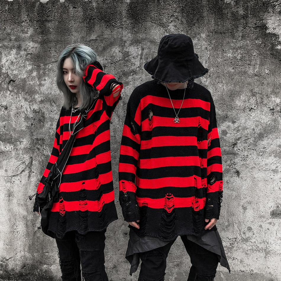 High Street Retro Punk Rock Hombre Red And Black Stripes Sweater Men Loose Hole Tassel Wool Sweater Pull Homme