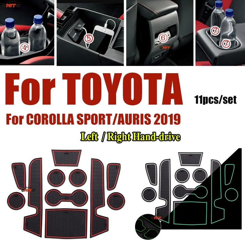 Anti-slip Rubber Cup Mat Cushion Door Groove Pad For Toyota CORLLA SPORT/AURIS 2019 Car Interior Slot Gate Mat 11pcs/set