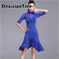 2019 women dance costume set dress salsa samba short sleeves lace women latin dance dresses