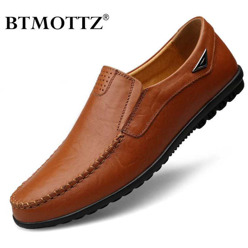 Genuine Leather Men Casual Shoes 2020 High Quality Mens Loafers Moccasins Breathable Slip On Black Driving Shoes Plus Size 37-47