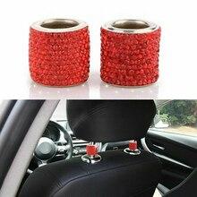 2pcs Diamond Ring Car Seat Crystal Headrest Decor Collars Rhinestone Bling For Women Interior Accessories