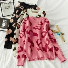 Pullover Frauen Gedruckt Leopard Rosa Süße Neue Gestrickte Warme Chic Damen Pullover Allgleiches Lässig Weichen Hochwertigen Täglichen Ulzzang