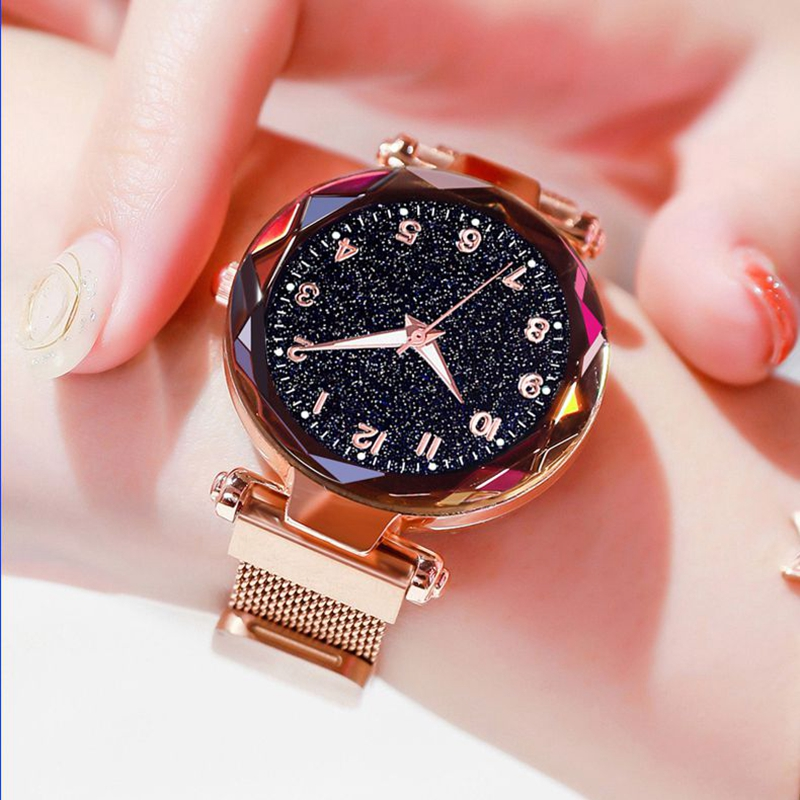 Luminous Watch  Women Watches Fashion Elegant Magnet Buckle Mysterious Wristwatch Starry Sky Clock For Girlfriend Dropshipping