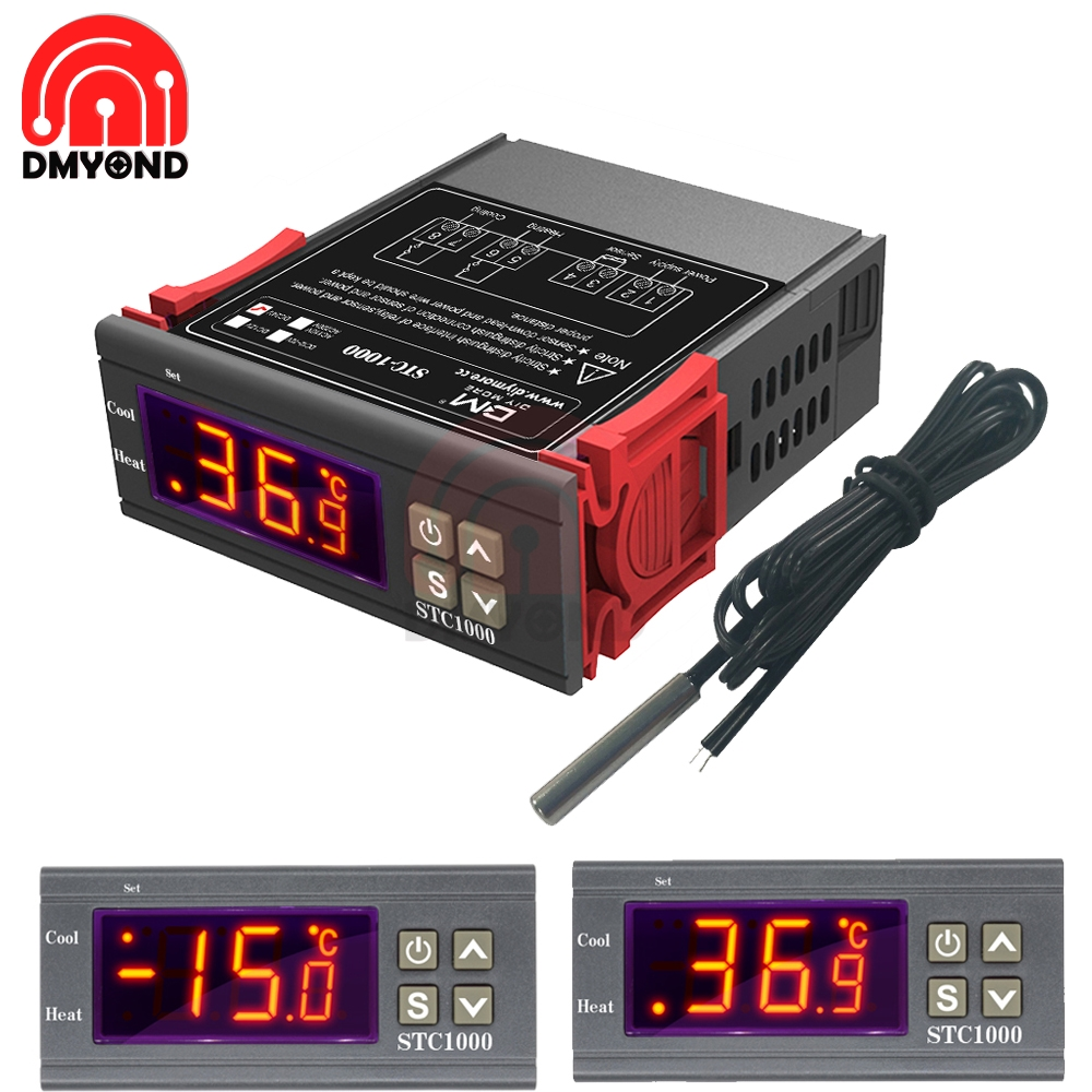 AC 110V <font><b>220V</b></font> DC 12V <font><b>24V</b></font> STC 1000 LED Digital Temperature Controller Thermostat Incubator Water Heater <font><b>Relay</b></font> Heating Cooling image