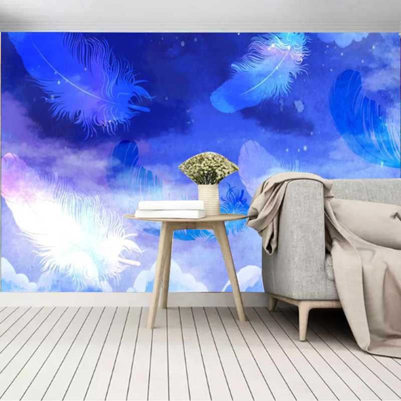 Simple Hand-Painted Dreamy Feather Sky TV Backdrop Wallpaper Living Room Background Nonwoven Fabric Seamless Mural