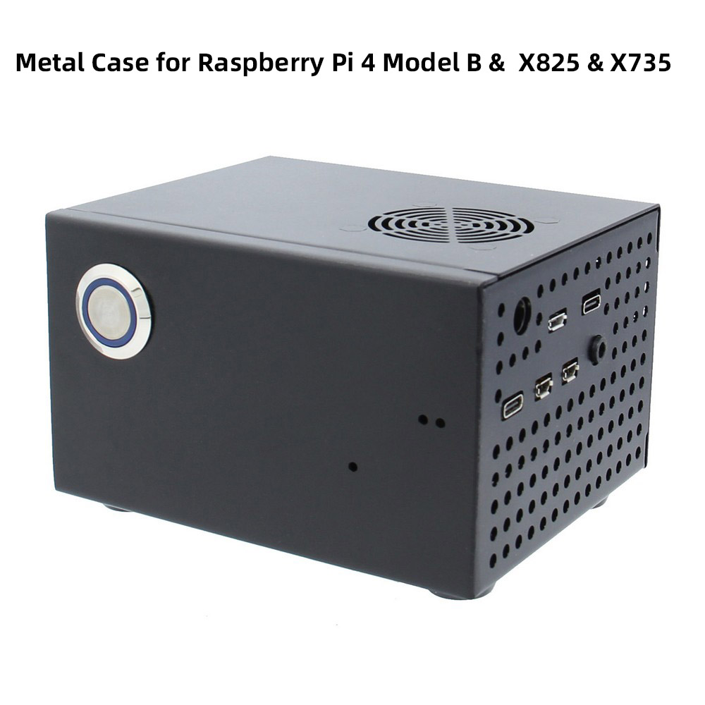Raspberry Pi X825 Matching Metal Case+Switch+Cooling Fan, Case For X825 SSD&HDD SATA Board & X735 & Raspberry Pi 4 Model B