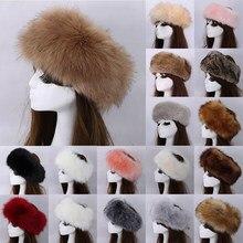 2020 inverno grosso peludo hairband fofo russo falso pele das mulheres menina bandana chapéu de inverno ao ar livre earwarmer esqui chapéus quente