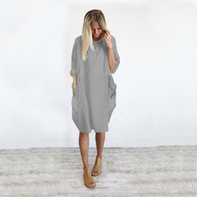 Summer O-Neck Pregnancy DressCasual Ladies Large Size Dress Casual Loose Pocket Women Summer Dress Plus Size Maternity Clothes 2018 winter elegant dress loose maternity dress casual pregnancy dress dot plus size dress ruffles pockets