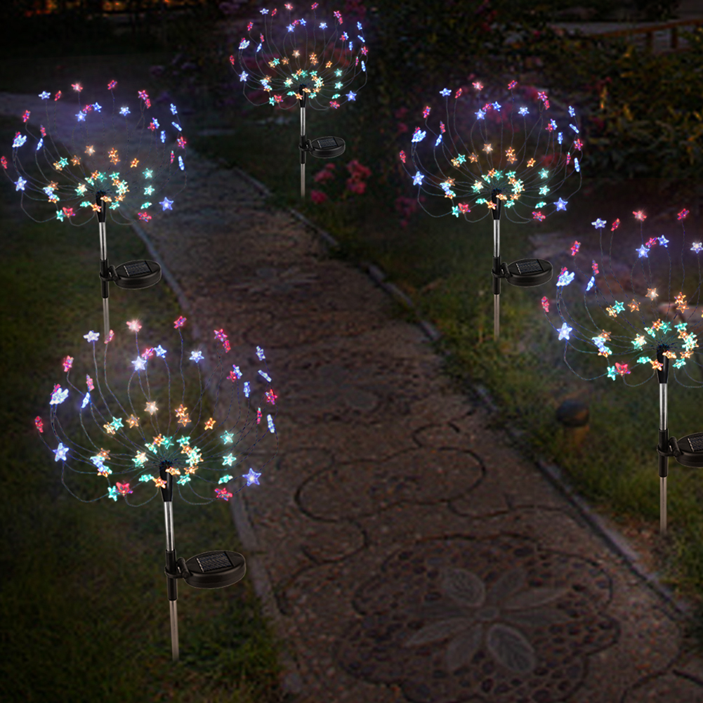 VKTECH 2pcs 90 LED Solar Powered Firework Lights IP44 Waterproof Outdoor Lamp for Landscape Path Lawn Garden Decoration Dropship