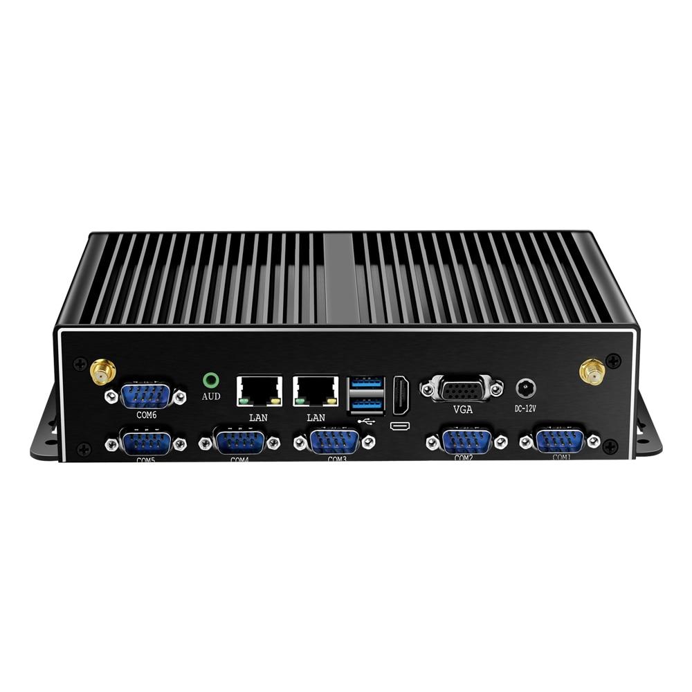 Fanless Intel Core I7 I5 4200U Mini PC 2*LAN 6*RS232 4*USB HDMI VGA WiFi 3G 4G Embedded Industrial Micro Computer Windows Linux
