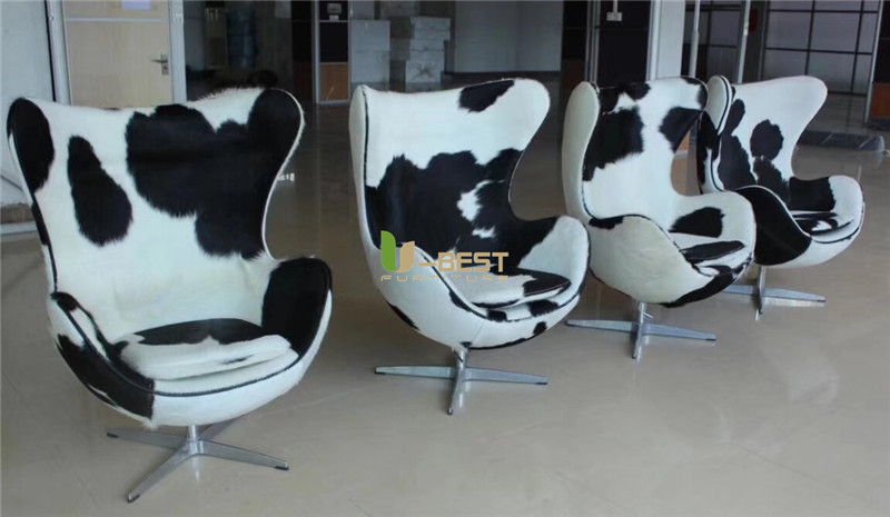 Black+white pony leather egg chair replica chair  (4)