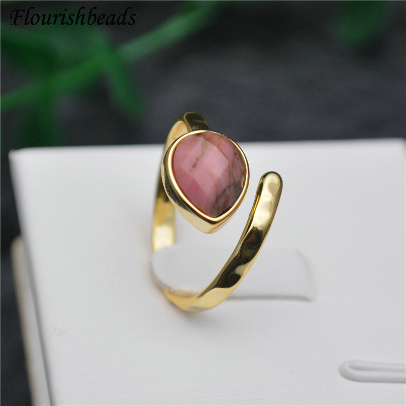 Cute Faceted Natural Pink Rhodochrosite Water Drop Shape Gemstone Rings Fashion Man Woman Party Jewelry Size Adjustable Gift