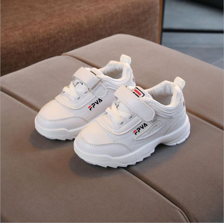 2019 Spring Toddler Girl White Brand Sneakers Little Boy Casual Running School Trainer Big Kid PU Leather Children Black Shoes