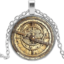 2019 New Hot Steampunk Gravity Waterfall Mysterious Bill Retro Clock Charm Glass Convex Round Pendant Necklace Jewelry
