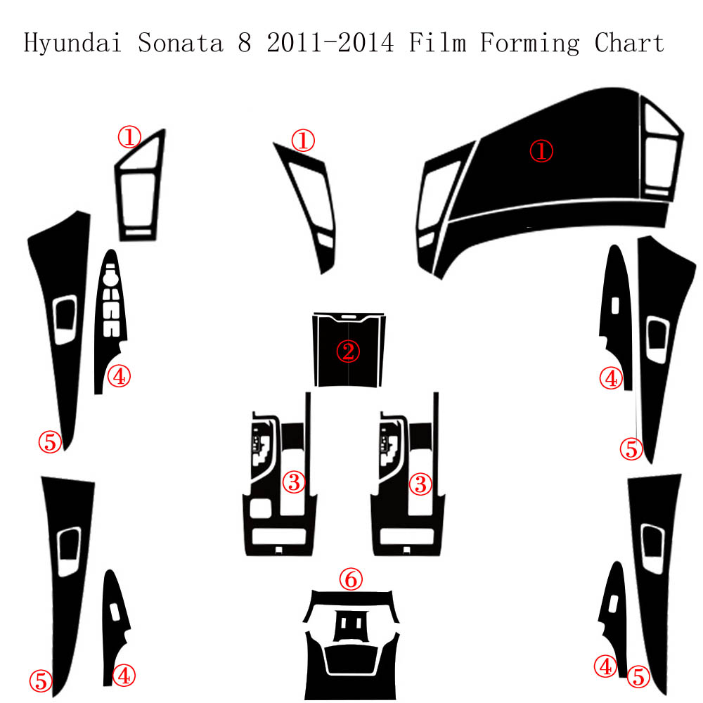 For Hyundai Sonata 8 2011-2014 Interior Central Control Panel Door Handle 5D Carbon Fiber Stickers Decals Car Styling Accessorie