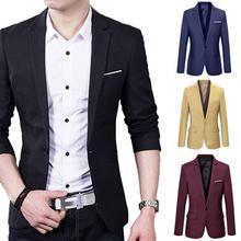 Office Blazer Jacket Fashion Solid Mens Suit Men's Slim Formal Business Suit Coat One Button Lapel Long Sleeve Pockets Top 2021