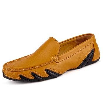 New Brand Quality Men Loafers Leather Breathable Men's Casual Shoes Men Driving Oxfords Shoe Flats Moccasins Shoes qffaz men shoes luxury brand genuine leather casual driving oxfords shoes men loafers moccasins italian shoes for men flats