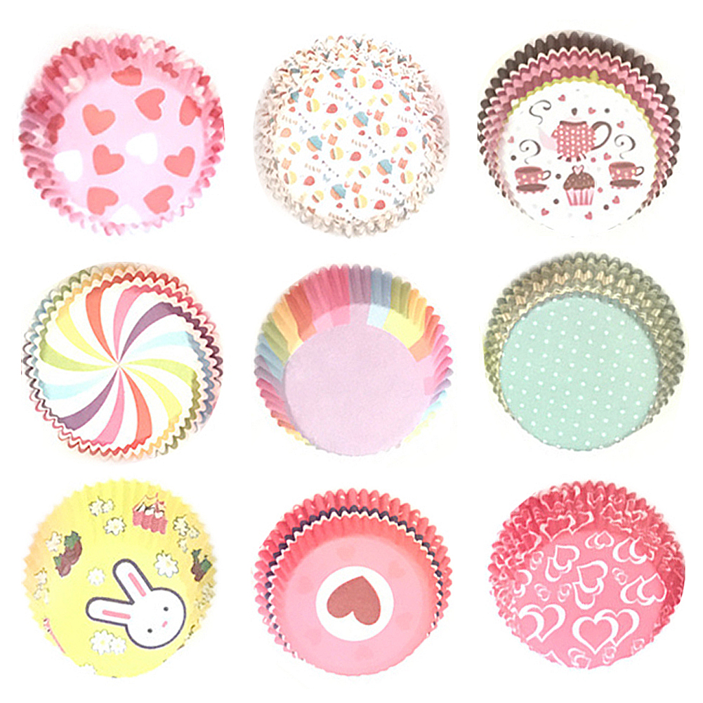 100PCS Color Printing Muffin Cases Paper Cups Cake Cupcake Liner Baking Mold Paper Cake Party Tray Cake Decorating Tool TSLM2