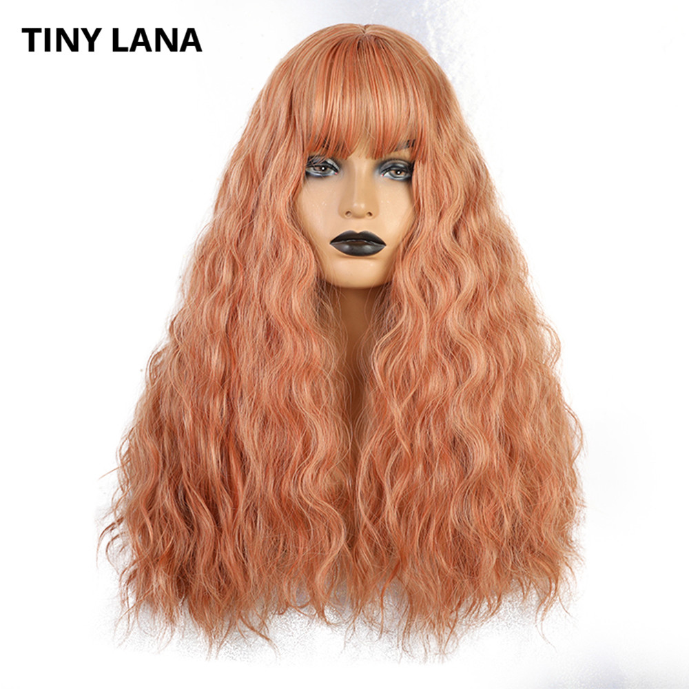 TINY LANA Multicolor Long Water Wave With Bangs Wig For Women Pink/ Orange Heat Resistant Synthetic Cosplay Lolita Wigs