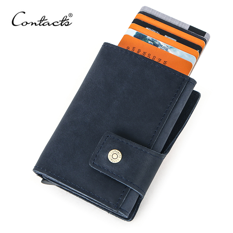 CONTACT'S Vintage Credit Card Holder Blocking Crazy Horse Leather Card Wallet Unisex Security Information Aluminum Purse RFID