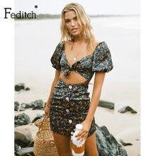 Feditch impressão do vintage verão mini vestido feminino oco para fora botões sexy bodycon vestidos de férias feminino manga curta praia