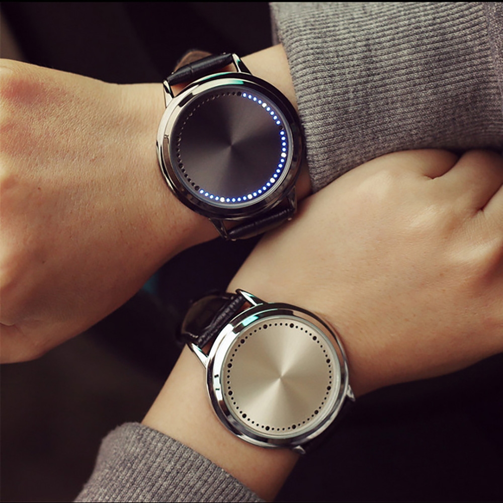 Fashionable And Simple Waterproof Leather Quartz Watch Creative Concept Personality Intelligent LED Men And Women Watch Student