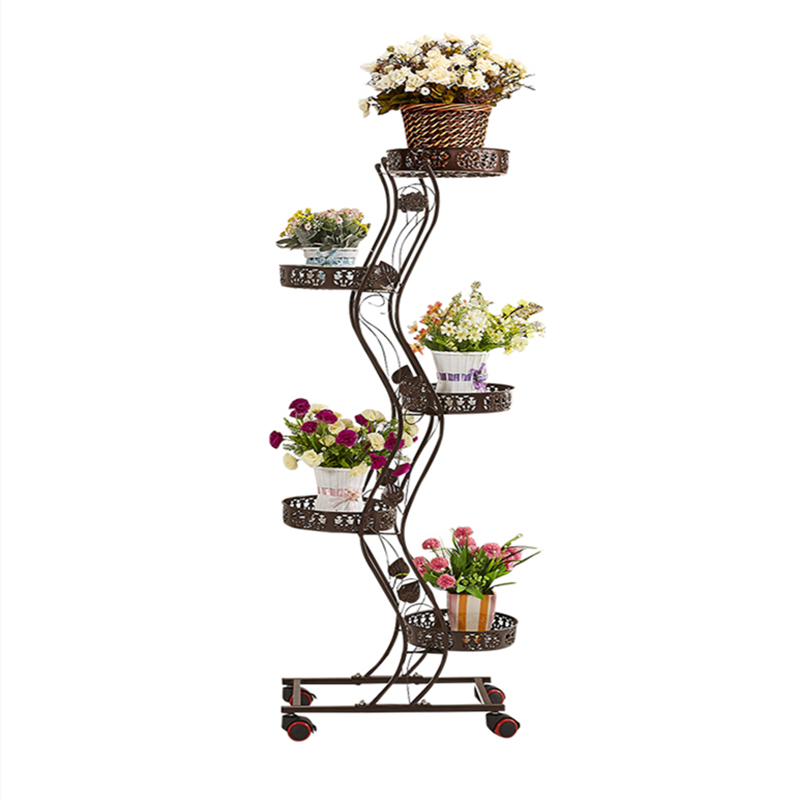 Tieyi Multilayer Flower Stand With Wheels Provincial Space Green Radish Flower Pot Stand Balcony Living Room Flower Stand Indoor