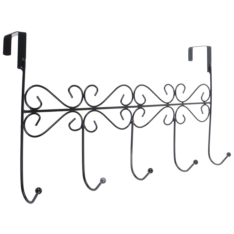 Metal 5-Hook Behind Door Hanger Bag Clothes Key Scarf Hanging Holder Organizer Durable To Use Over The Door Design No Drill Need
