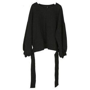 Image 5 - [Deat] 2020 novo outono inverno em torno do pescoço manga longa cor sólida preto voltar bandagem arco solto moletom moda feminina je14101