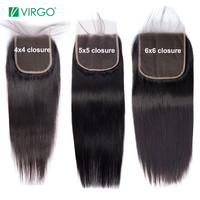 Virgo 4X4 5X5 6X6 7X7 Lace Closure Brazilian Straight Human Hair Closure With Baby Hair Free Part Swiss Lace Remy Natural Color