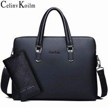 Celinv Koilm mężczyźni skórzana teczka torba biznes znane marki torby listonoszki biuro torebka 14 cal laptopa wysokiej jakości