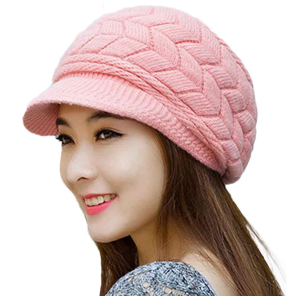 Fashion Women Solid Color Thicken Woolen Yarn Knitted Hat Outdoor Peaked Cap