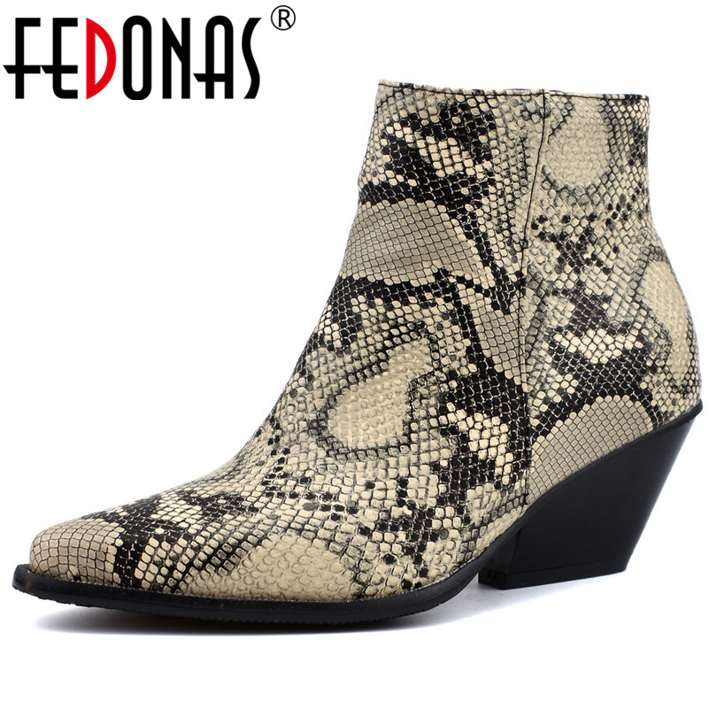 FEDONAS Women Strange Heels Ankle Boots Classic Animal Prints Pu Leather Fashion Western Boots Sexy Party Night Club Shoes Woman-in Ankle Boots from Shoes on AliExpress - 11.11_Double 11_Singles' Day 1