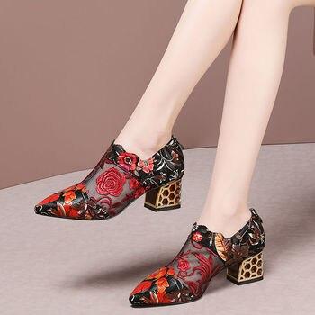 Tacones altos 2020, zapatos de mujer de Primavera/otoño de malla, zapatos de mujer, puntiagudos, bordados de flores, tacón grueso, étnico hecho a mano para mujer
