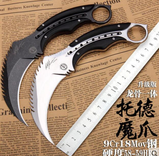 MAD BULL Fixed <font><b>Karambit</b></font> 9cr18mov Blade Steel+<font><b>G10</b></font> Handle outdoor Camping Tactical Hunting Knives Utility Survival EDC Tool image