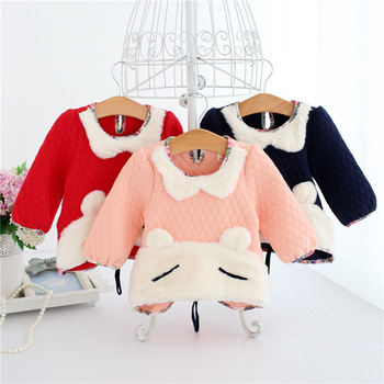 Wholesale 5pcs/lot Baby Clothes For Girls Cartoon Rabbit Baby Girls Tops Winter Warm Thicken Plus Velvet Kids Clothes Pullover