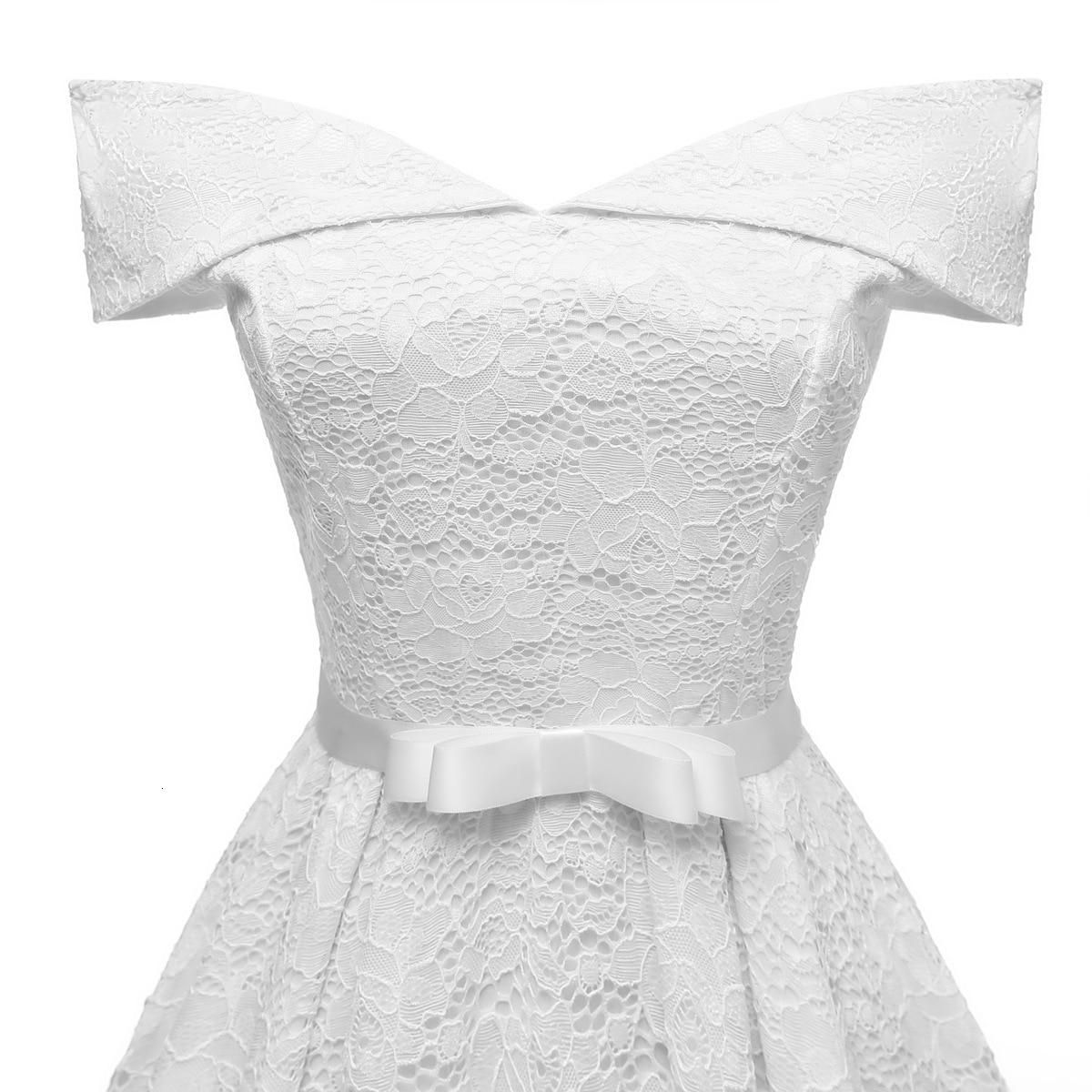 A-Line V Neck Off Shoulder Lace Knee-length Lace Bridesmaid Dress 4