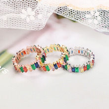Fashion Thin Multicolor T Ring Engagement Handmade Rainbow Trapezoid Stone Finger Rings for Women Girls Jewelry Accessories