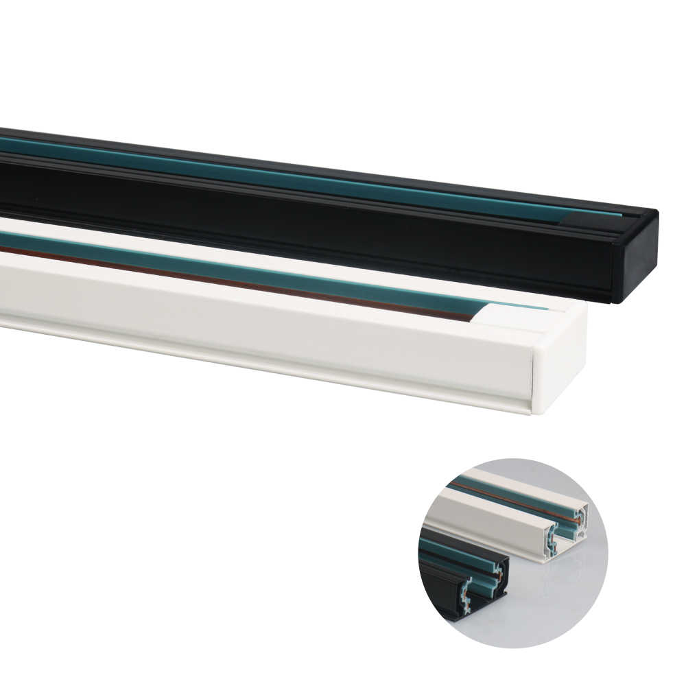GO OCEAN Track Light 1meter Track Rail 3 Wires Spotlight Lamps Fixture Aluminum Wiring Lights 3 Wire 1 Phase Spot Lighting Rail