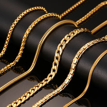 Vnox 24inch Gold-color Chain Necklace Long Stainless Steel Metal Snake/Cable/Round Box Chain(China)