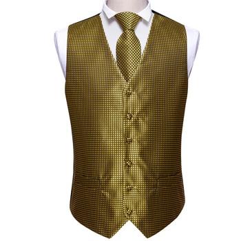 Designer Mens Classic Black Paisley Jacquard Folral Silk Waistcoat Vests Handkerchief Tie Vest Suit Pocket Square Set Barry.Wang 28