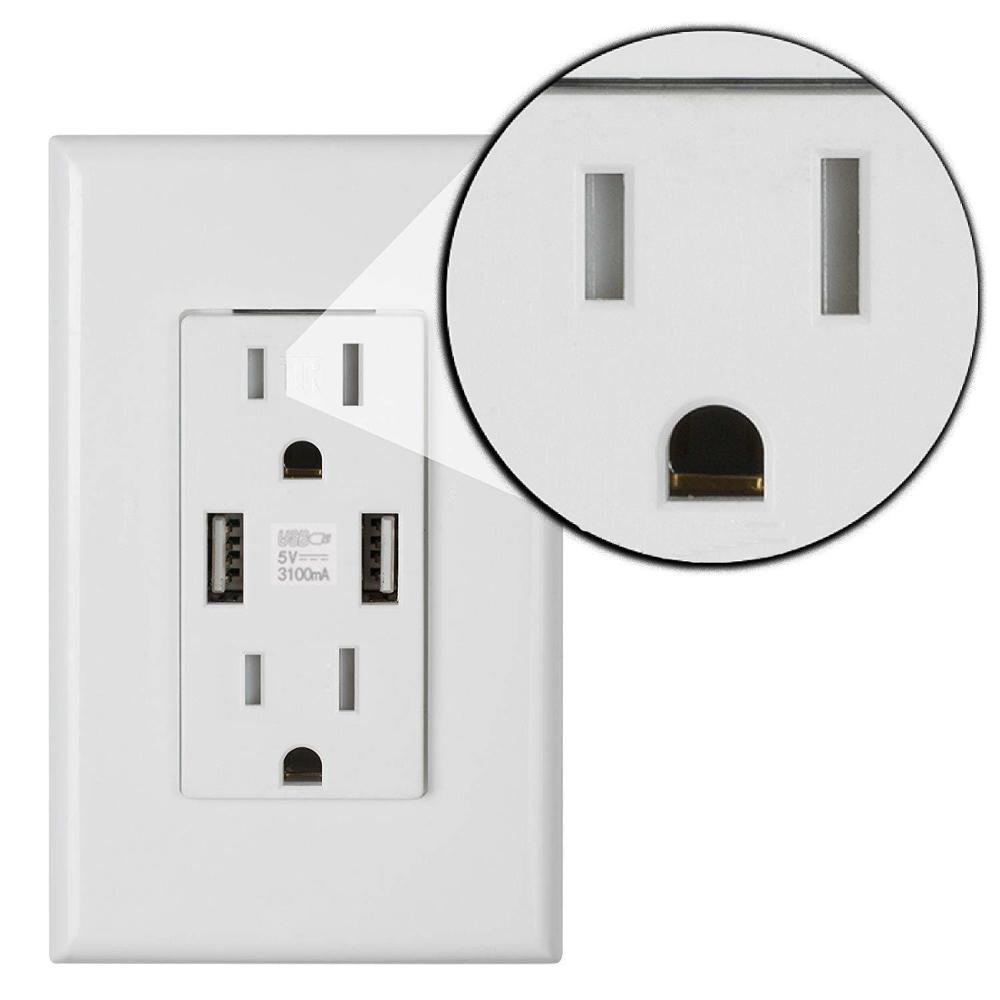 Power Outlet Wall Plug Outlet With Usb US Plug Socket Port Wall Adapter Power Socket With Usb 3.11 Adapter Receptacle 6 Holes