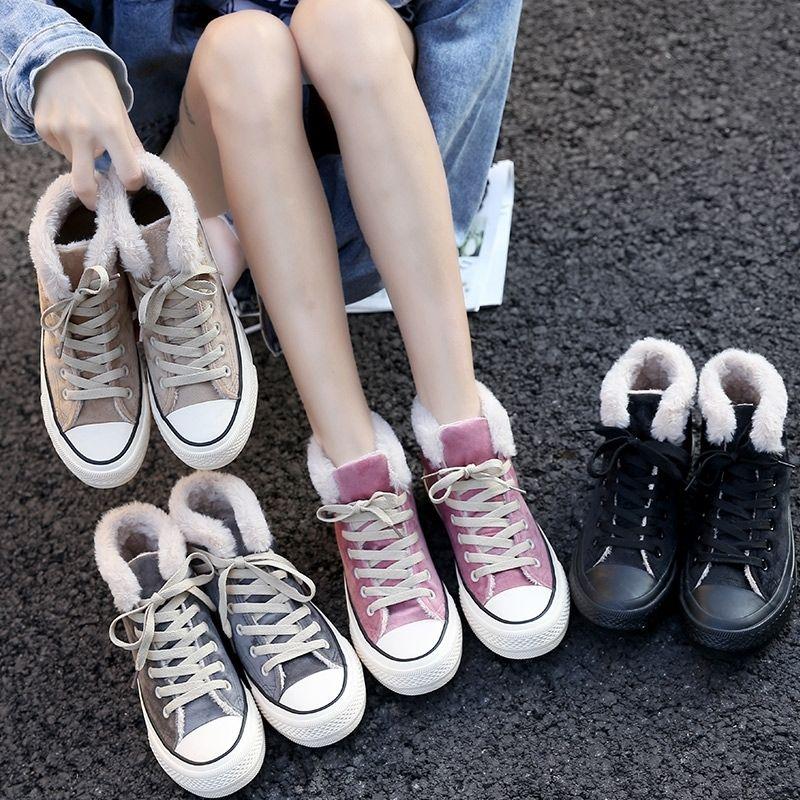Winter new cotton shoes simple plus velvet high canvas shoes Korean version of the thick warm two cotton shoes 27