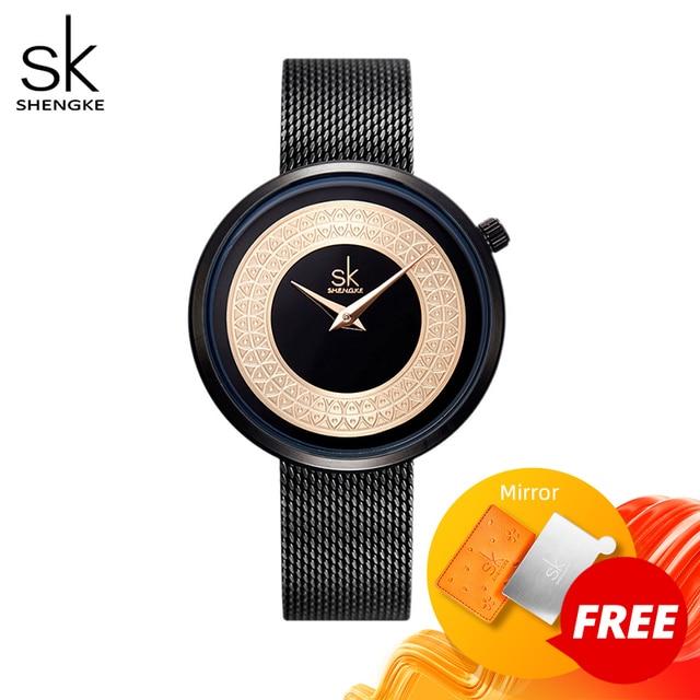 Женские наручные часы Shengke, женские модные часы с металлической сеткой, Винтажный дизайн, женские часы, роскошный бренд, Классические наручные часы