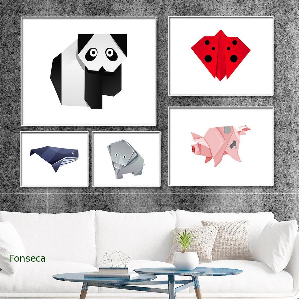 Modern Home Decoration Geometric Animals Canvas Painting Wall Art Picture Horizontal Origami Ladybug Pig Dog Fish Poster image