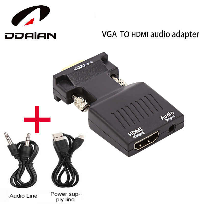 VGA to HDMI Adaptor Converter  Male to  Female with Audio Power Adapter Support 1080P Signal VGA to HDMI Audio 5V DC Connector