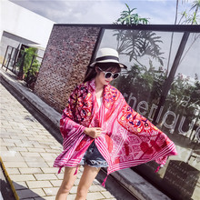 Summer Cotton and Linen Red National Style Travel Seaside Holiday Sunscreen Scarf Shawl Silk Beach Towel Female